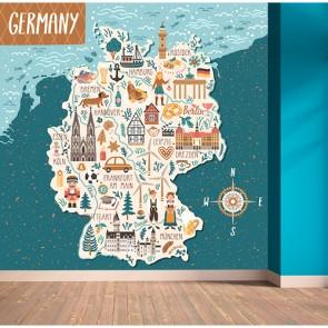 Carte des icônes de l'Allemagne papier peint 3d appliqué sur le mur