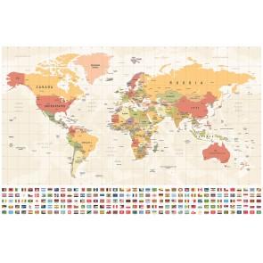 Carte Du Monde Et Drapeaux