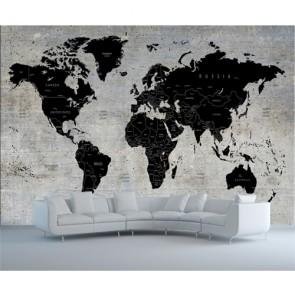 Carte du monde sur mur de béton papiers peints photo appliqué sur le mur