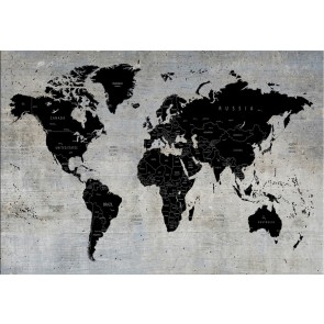 Carte Du Monde Sur Mur De Béton