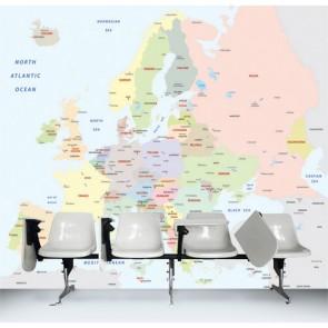 Carte de l'Europe tapisserie appliqué sur le mur