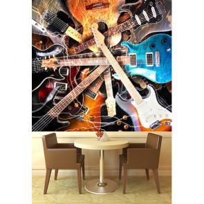 Collection de guitare papiers peints photo appliqué sur le mur