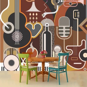 Musique et art tapisserie murale appliqué sur le mur