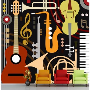 Thèmes de musique papier peint 3d appliqué sur le mur