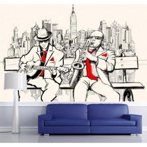 Blues dans la rue papiers peints photo 3D appliqué sur le mur