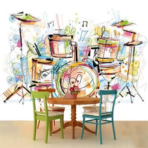 Tambours colorés papier peint appliqué sur le mur