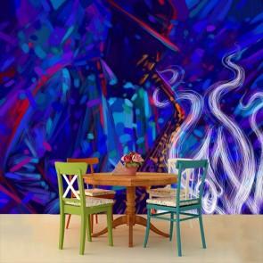 Art de style jazz papier peint 3d appliqué sur le mur