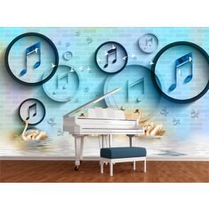 Cygnes et musique papiers peints photo appliqué sur le mur