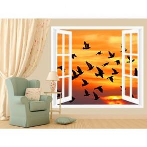 Oiseaux dans la fenêtre papier peint