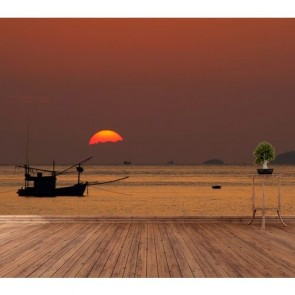 Pêche au coucher du soleil tapisserie murale