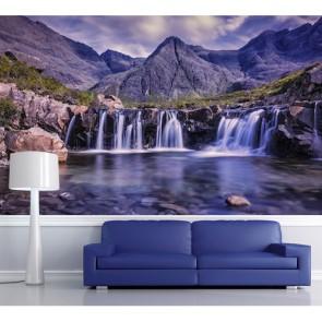 Cascade dans les montagnes papier peint 3d appliqué sur le mur