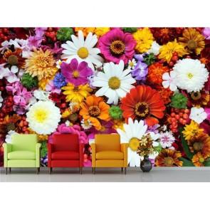 Variété de fleurs tapisserie appliqué sur le mur
