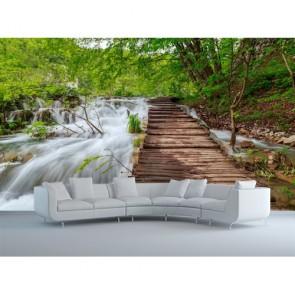 Pont de la cascade papier peint 3d appliqué sur le mur