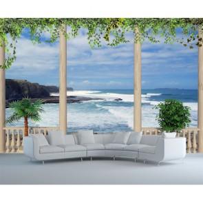 Mer depuis la terrasse tapisserie appliqué sur le mur