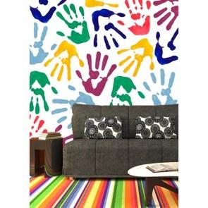 Mains colorées decoration murale appliqué sur le mur