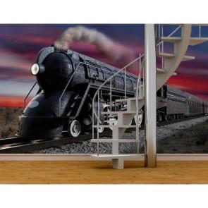 Train noir tapisserie appliqué sur le mur