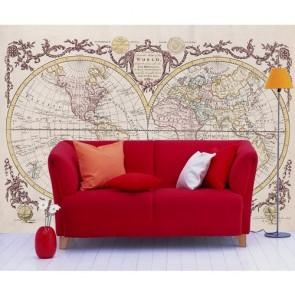 Atlas du monde vintage decoration murale appliqué sur le mur