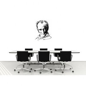 Portrait d'Ataturk avec signature papiers peints photo 3D appliqué sur le mur