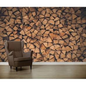 Bois de chauffage humide decoration murale appliqué sur le mur