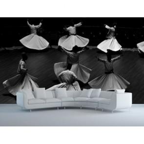 Spectacle avec des derviches tourneurs papiers peints photo 3D appliqué sur le mur