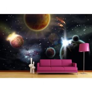 Système galactique papiers peints photo appliqué sur le mur