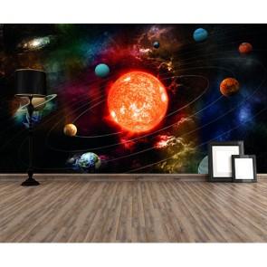 Système solaire fantastique papiers peints photo 3D appliqué sur le mur