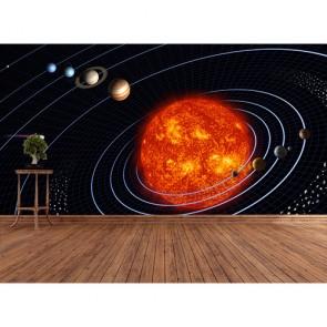 Orbite terrestre dans la voie lactée papier peint appliqué sur le mur