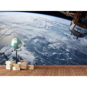 Monde avec un satellite Nasa papier peint 3d appliqué sur le mur