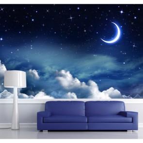 Lune et nuages tapisserie appliqué sur le mur