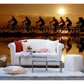 Tour à vélo tapisserie murale appliqué sur le mur