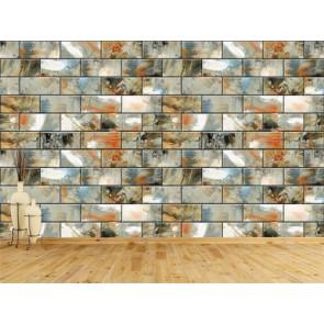 Briques en céramique papier peint appliqué sur le mur