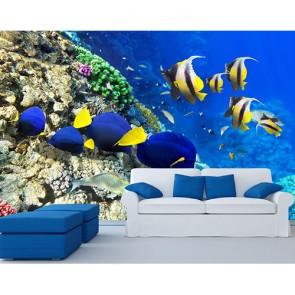 Poisson jaune et bleu marine tapisserie murale appliqué sur le mur