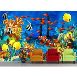 Dessin sous-marin tapisserie appliqué sur le mur