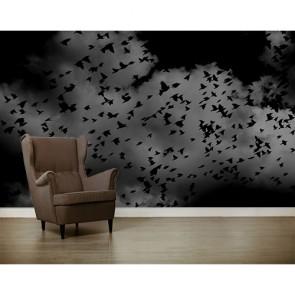 Oiseaux noirs papiers peints photo appliqué sur le mur