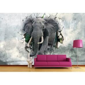 Éléphants forts tapisserie murale appliqué sur le mur