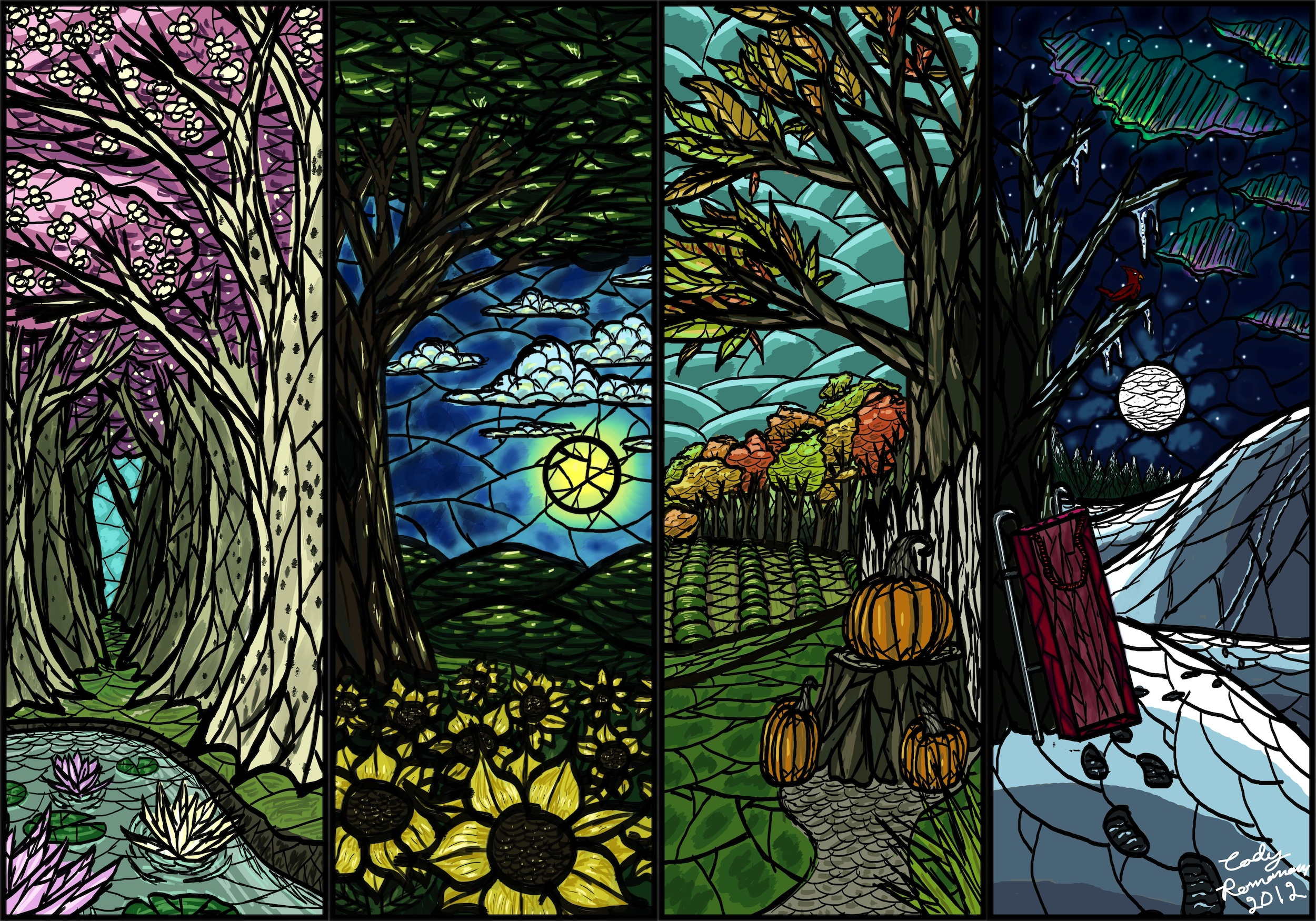 Quatre saisons papier peint