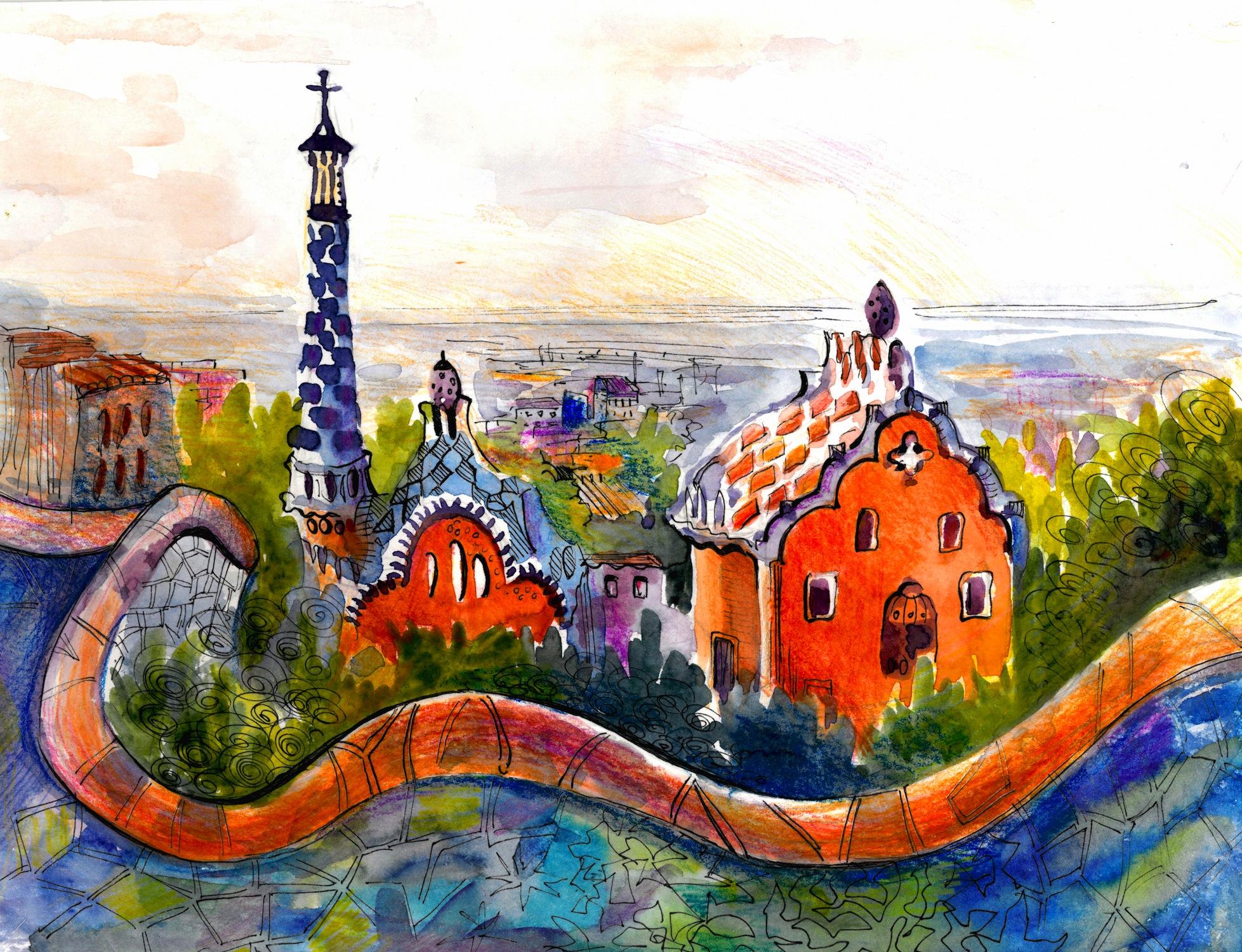 Parc Guell à Barcelone Peinture papier peint
