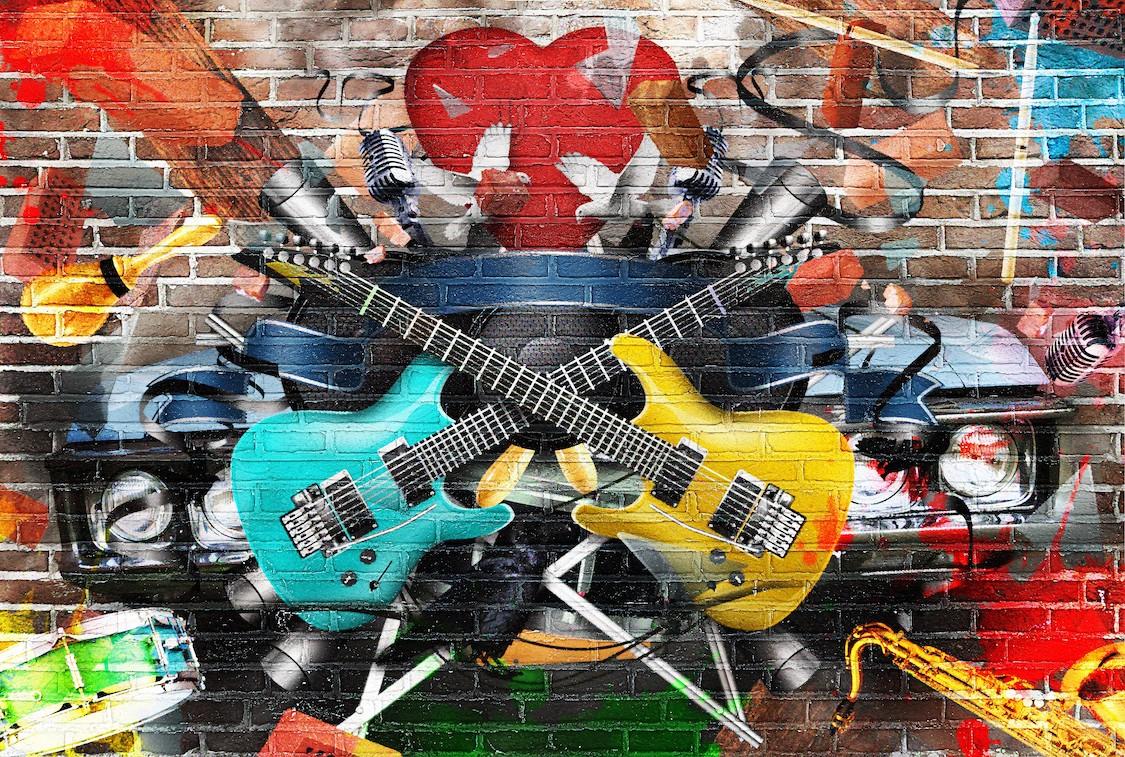 Musique et graffiti papier peint