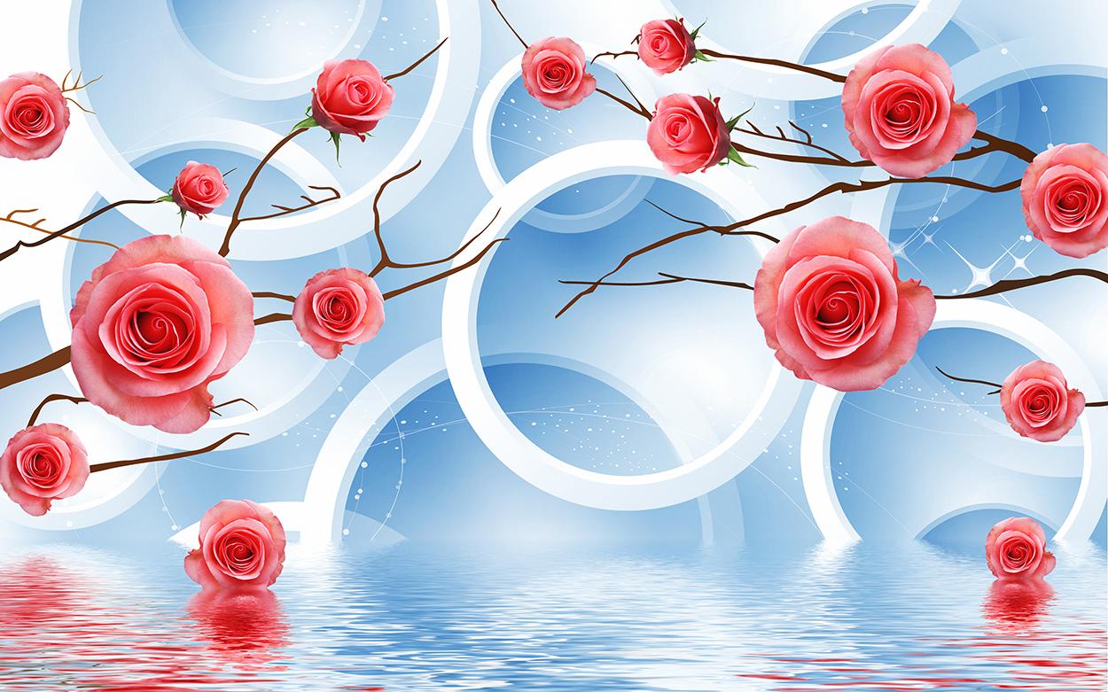 Roses et cercles tapisserie murale