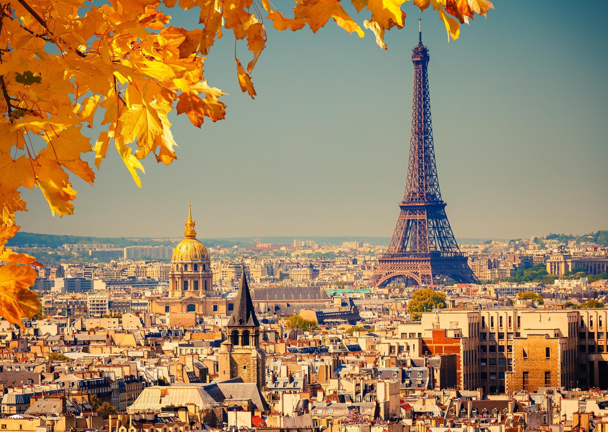 L'automne à Paris papier peint