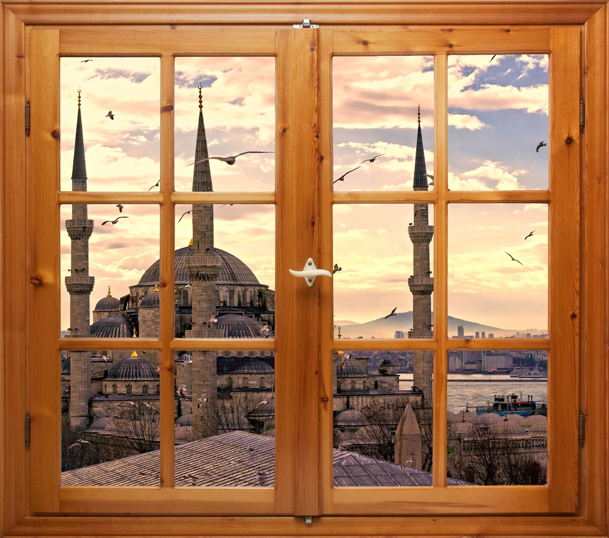 Ma maison regarde vers Sultanahmed papiers peints photo 3D appliqué sur le mur