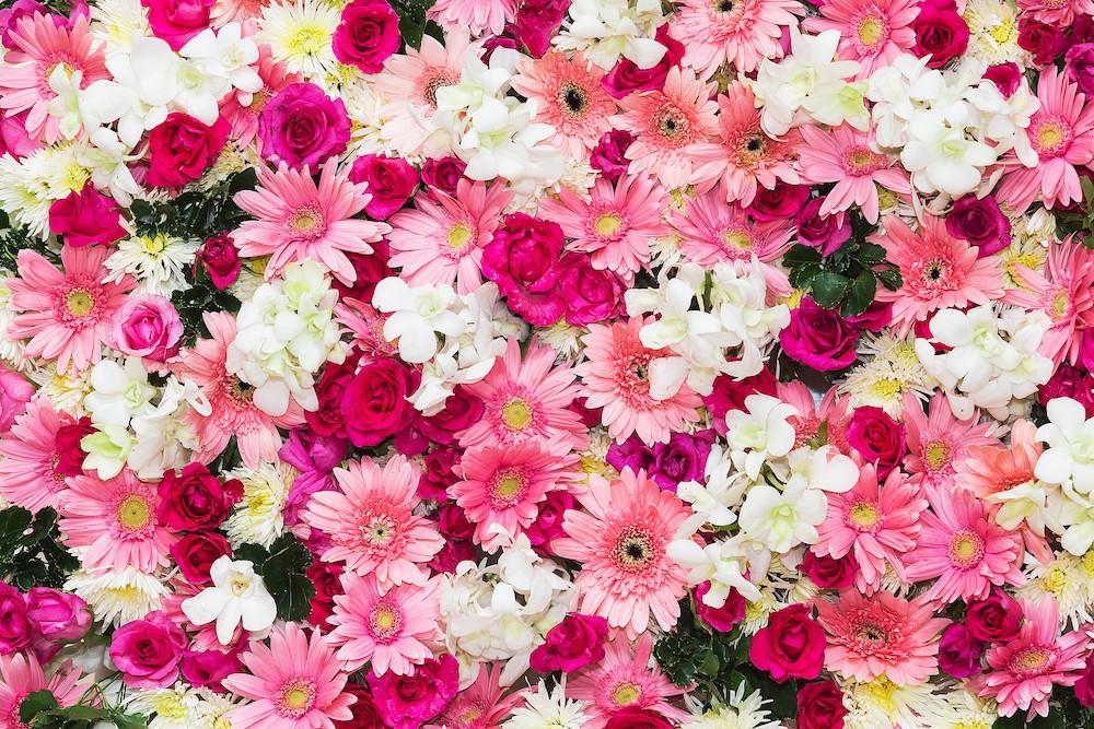 Bouquet rose tapisserie murale