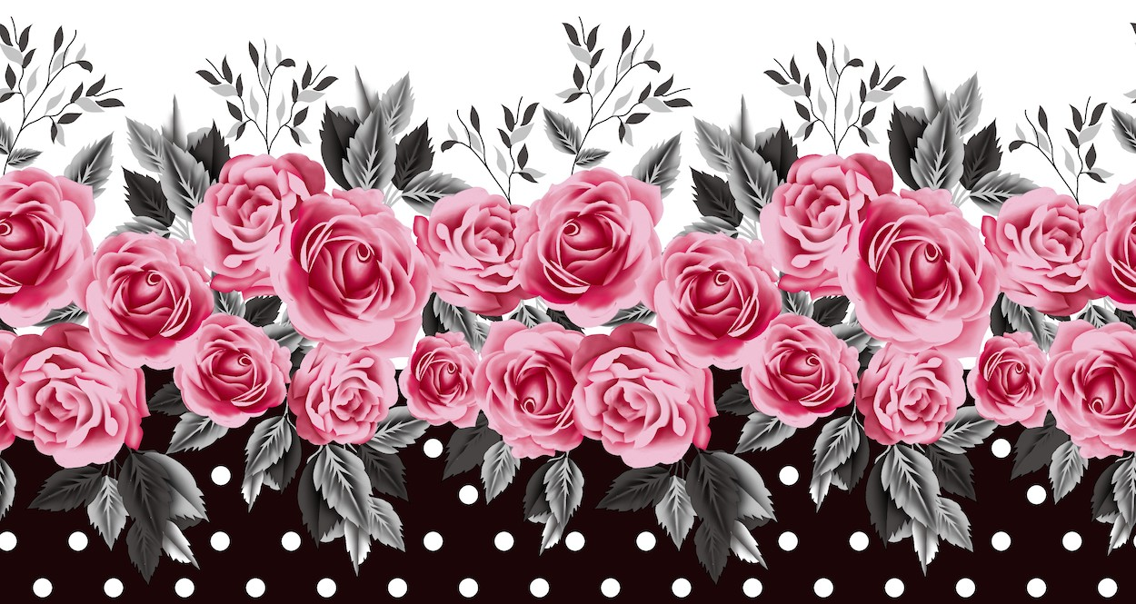 Conception de roses tapisserie murale