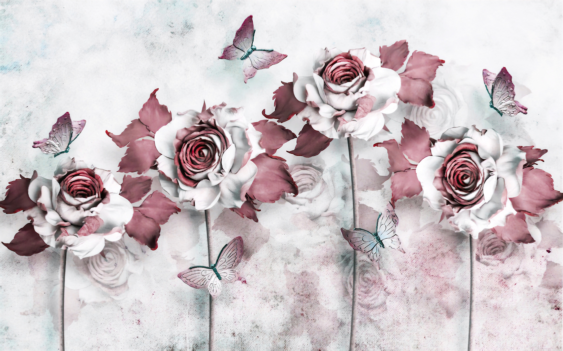 Roses aux tons roses decoration murale