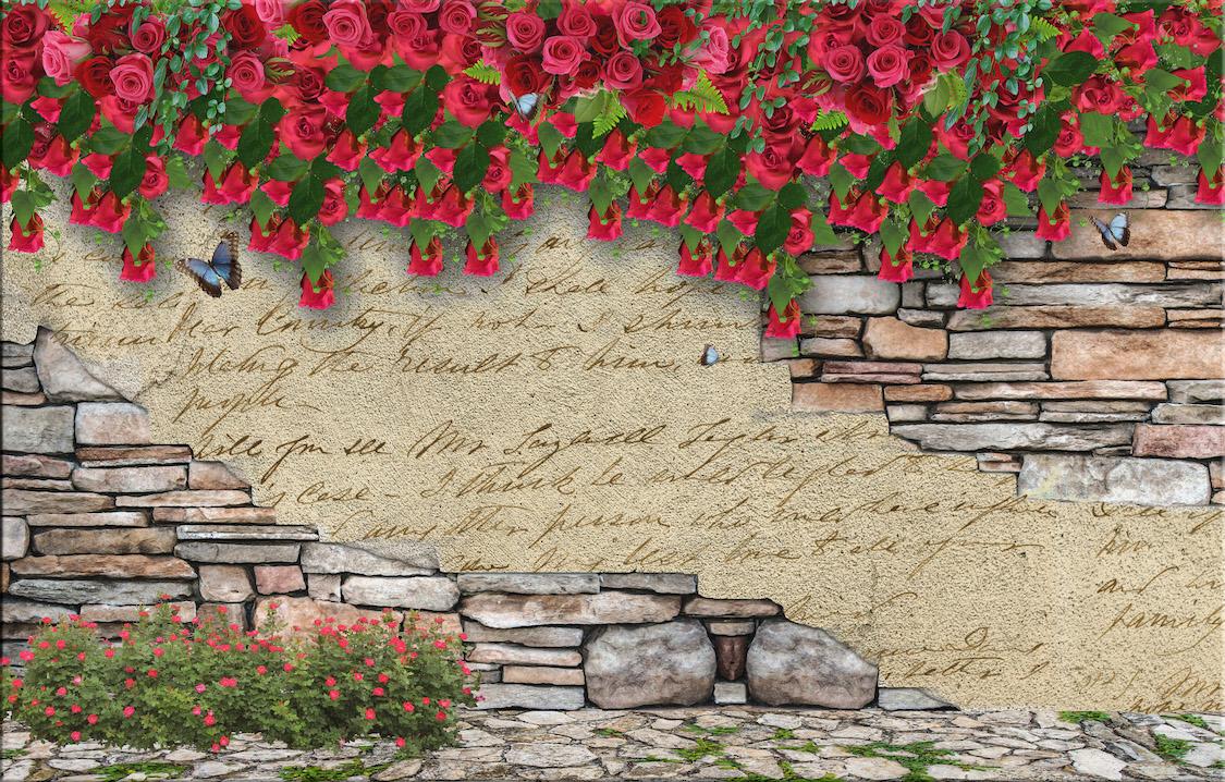Mur fleuri tapisserie murale