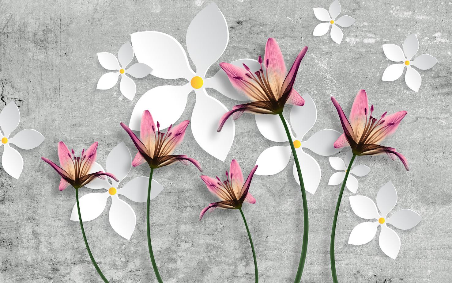 Fleurs en béton papiers peints photo