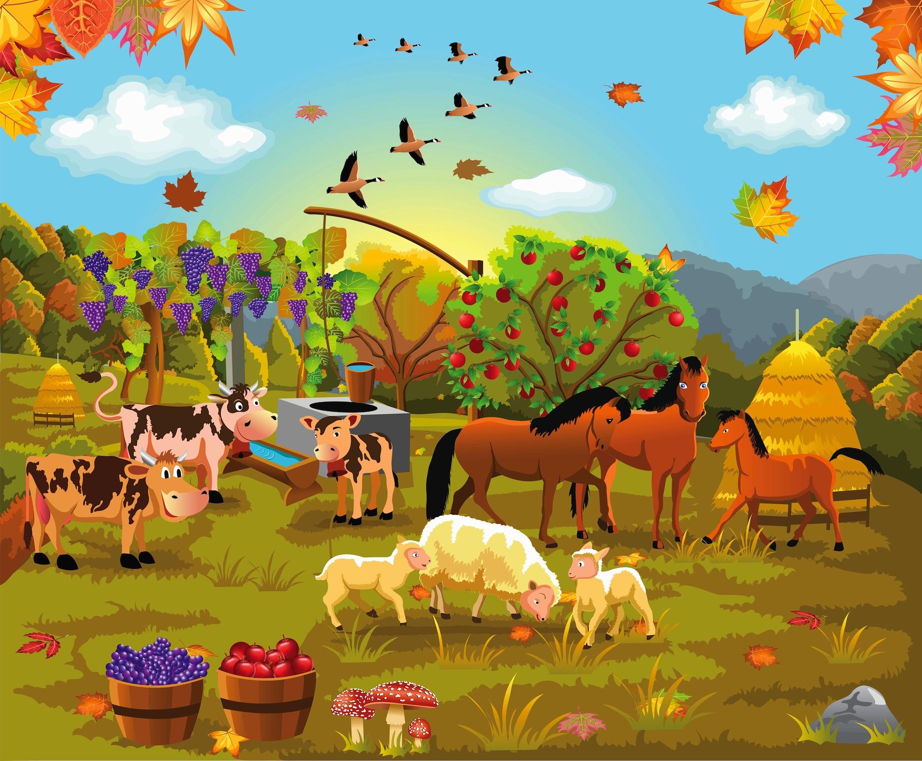 Vie à la campagne tapisserie murale