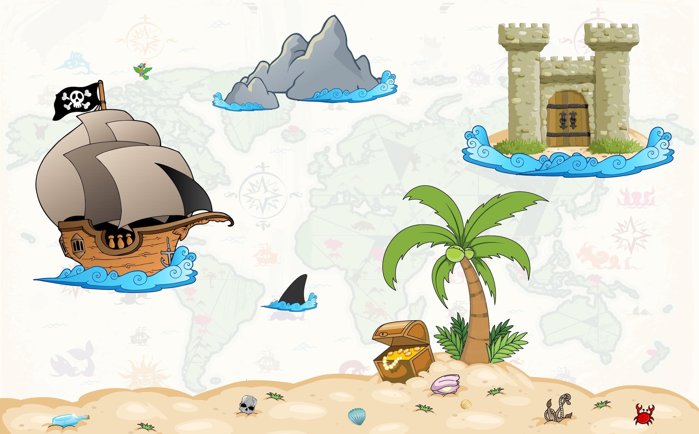 Les pirates papiers peints photo 3D appliqué sur le mur