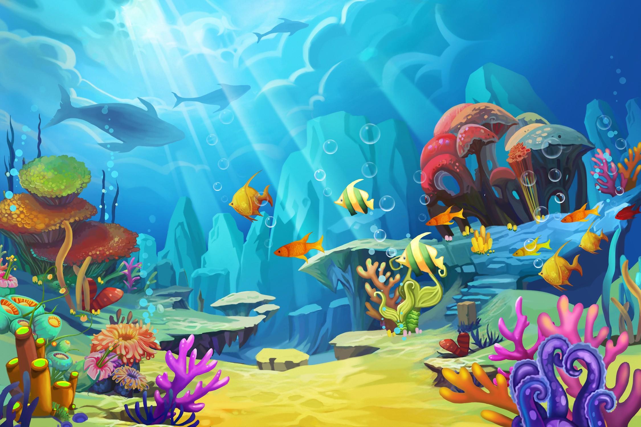 Monde drôle au fond des fonds marins papier peint 3d