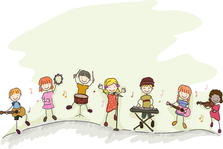 Orchestre d'enfants papier peint 3d
